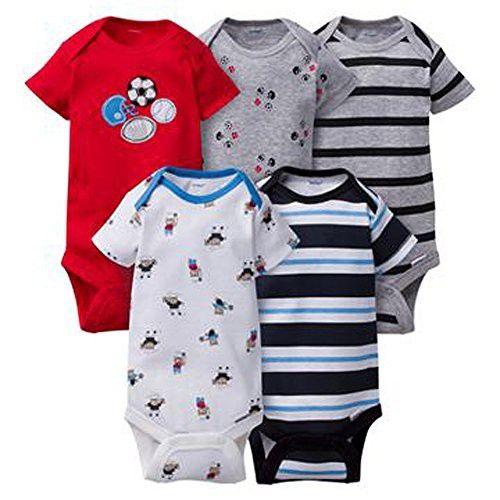 Gerber Baby Boys 5 Pack Variety Bodysuits (Newborn, Sports 2)