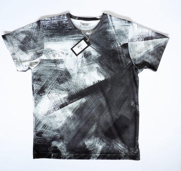 Elegancki T-shirt męski - czarno biały LUX! - ArtEgo - Bluzki