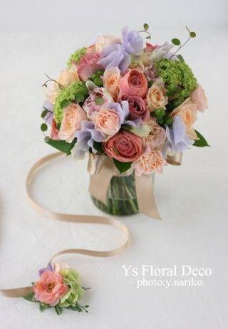 hk0175 生花ブーケとお揃いのカラフル花冠 アーティフィシャルフラワー @ルシェルブラン表参道 ys floral…
