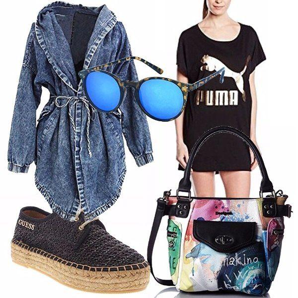 Vestitino nero, con stampa Puma, trench con cappuccio, espadrillas nere, borsa multicolor Desigual, occhiali da sole a specchio, per il tempo libero o magari una passeggiata al mare!