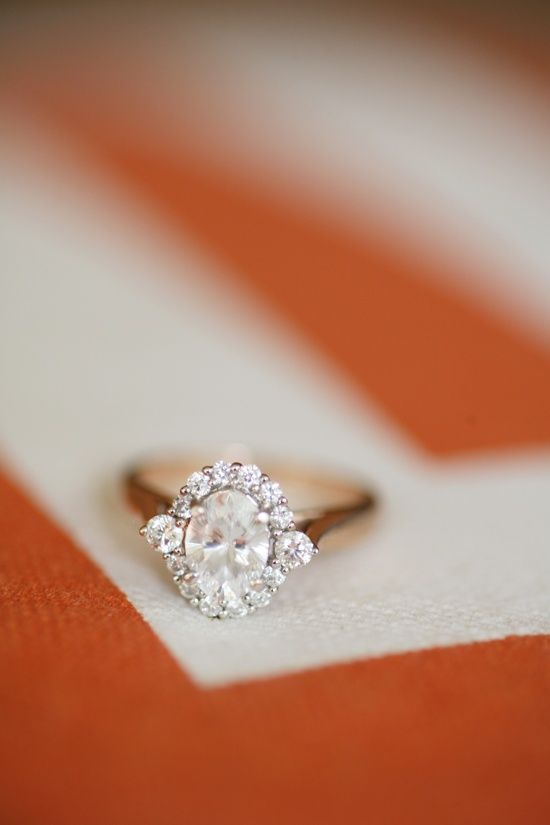 Oval Rose Gold Engagement Ring, if it were a white gold band