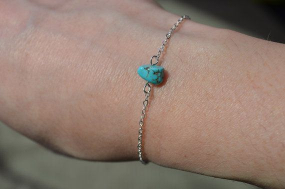 Turquoise Bracelet Dainty Silver Chain Bracelet Birthstone Jewelry Crystal…
