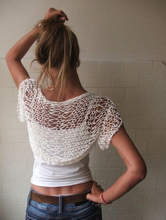 white shrug / short sleeved / loose knit / bamboo hand knit wedding shrug
