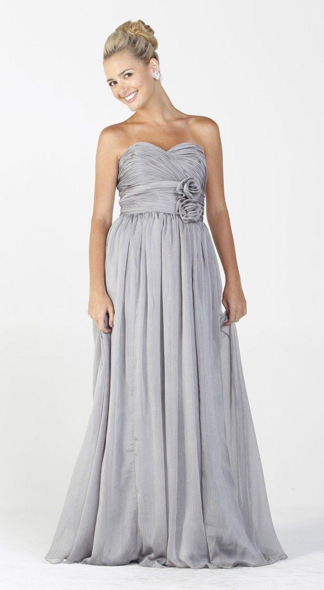 Long Flowy Chiffon Bridesmaid Dress Silver Strapless
