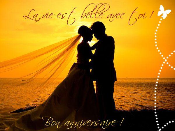 bon anniversaire les amoureux httpwww - Cybercarte Anniversaire De Mariage