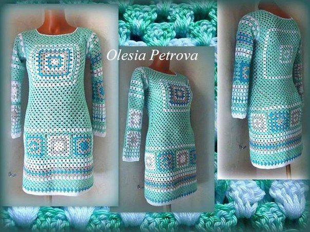 Delicadezas en crochet Gabriela: Tan maravillosamente hermoso un vestido en tonos pastel ideal para dias de verano