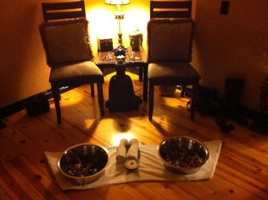 Sapphire Day Spa Relaxing foot soak with tea and chocolates!  714 View St