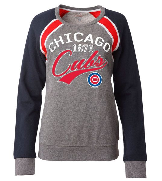 Chicago Cubs French Terry Crew Neck Sweatshirt by 5th and Ocean #ChicagoCubs #Cubs #FlyTheW