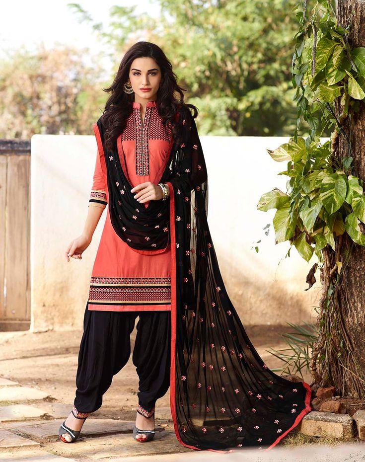 Peach Cotton Cambric Punjabi Suit 68129
