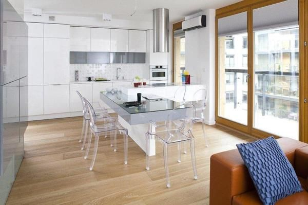 Nowoczesne Kuchnie Aranzacje Kuchni Z Salonem Szklo I Biel Home Decor Interior Dream Kitchen