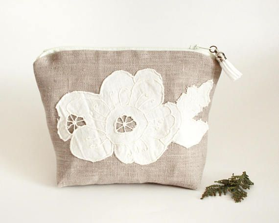 Makeup Bag With Vintage Floral Lace and Tassel Bridesmaid