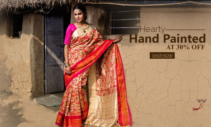 Arrived and How! Exclusive #HandPaintedSilkSarees at 30% OFF!