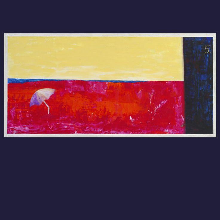 Molo číslo 5 akryl na desce rozměr: 73x36 cm Osamnělá pláž s opuštěným slunečníkem. Molo č.5 a rozpálený písek.