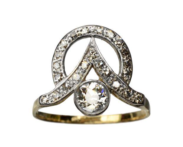 1910s Art Nouveau / Art Deco Diamond Ring, Approx. 0.65ctw, Platinum, 18K : Erie Basin Antiques