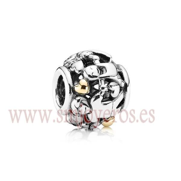 Charm Pandora de plata de ley con oro 14 k. Familia.  REFERENCIA: PA791040  Fabricante: Pandora