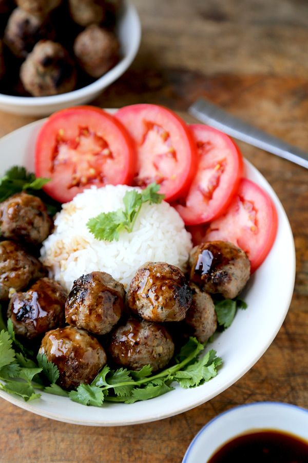 Easy, Savory Vietnamese Beef Meatballs with a Sweet and Spicy Hoisin Dipping Sauce. Serve with Rice, Cilantro and Tomatoes for a tasty and healthy lunch.