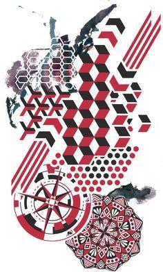 Geometric splatter with trash polka elements.