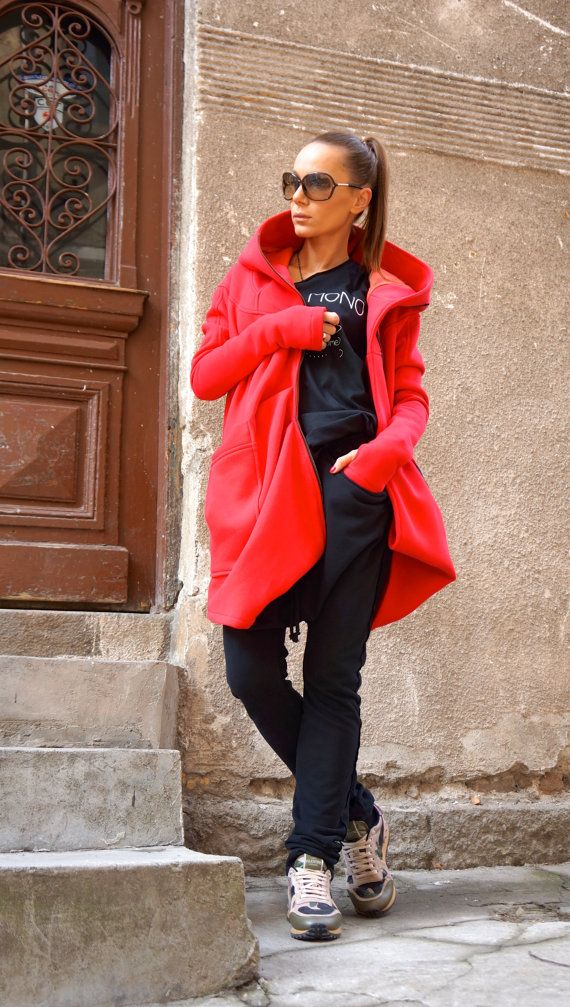 Gorgeous Hooded Watermelon Quilted Coat / Extra Long sleeves Thumb Holes / Cotton Lined Inside Extravagant and Unique Black Asymmetrical Coat With Double Sided Zipper and large pocket , one inside dipper pocket ....so comfortable and always in Style! Be Modern and Elegant and DARE to WEAR!