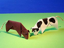 Kuh basteln, Bastelvorlage Papiertiere, Cow Origami, Paper, Folding, Animal Origami Pattern, template, how to , step by step, Tutorial, kawaii, adorable, cute papercrafts for kids