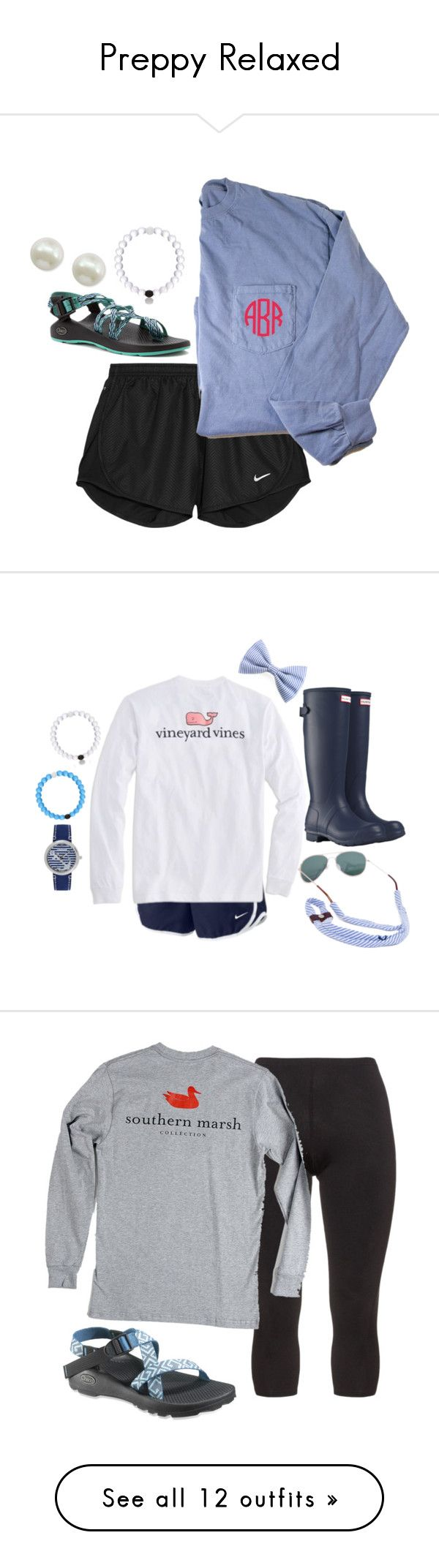 """Preppy Relaxed"" by camlinker ❤ liked on Polyvore featuring NIKE, Chaco, Majorica, Vineyard Vines, Hunter, Sperry Top-Sider, Manon Baptiste, camlinkeroriginal, Target and Lilly Pulitzer"