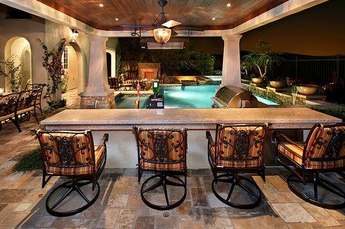 Beautiful Backyard Patio With Bbq Grill Swimming Pool Dream Home Wish List Pinterest