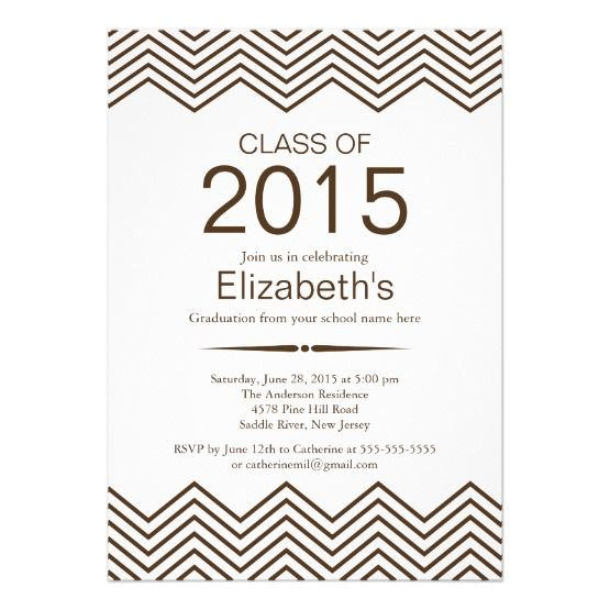 Invite Guests In Style With This Elegant Brown Chevron Graduation Party Invitation Formal