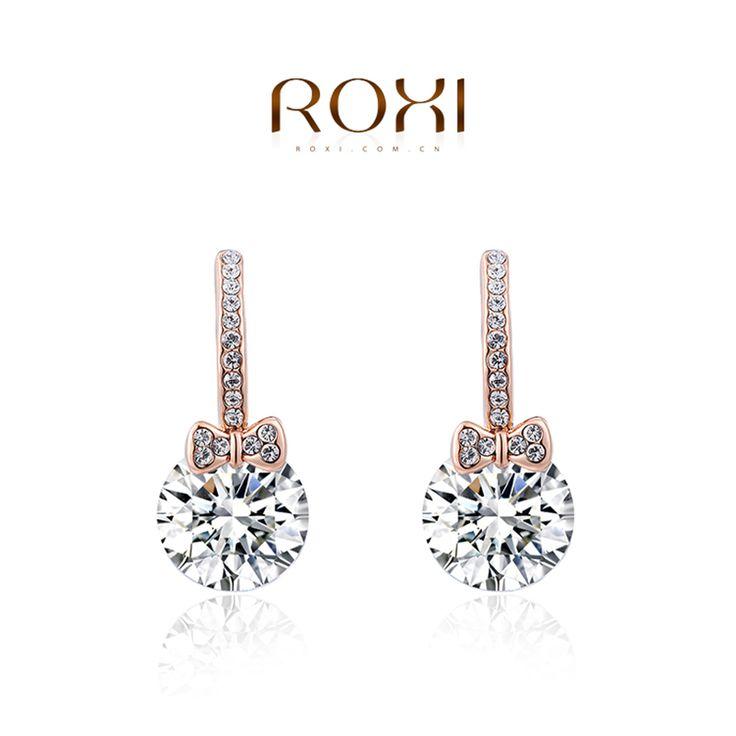 ROXI Brand Earrings For Women Bowknot Pendant Rose Gold Plated Ear Stud Earrings For Women Party Wedding Fashion Jewelry