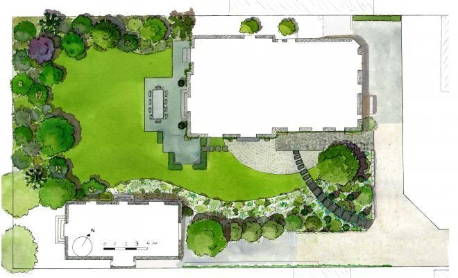 Canopées: plan masse d'un jardin paysagé à Sèvres