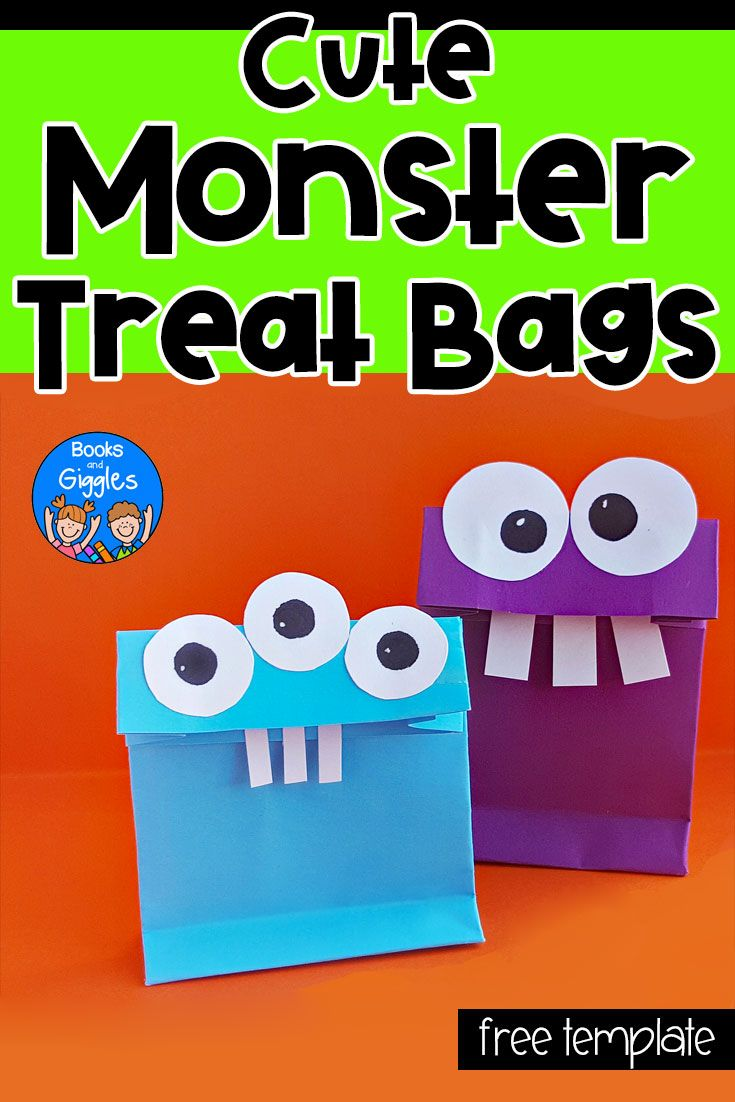 diy halloween treat bags for kids who love cute monsters | crafts
