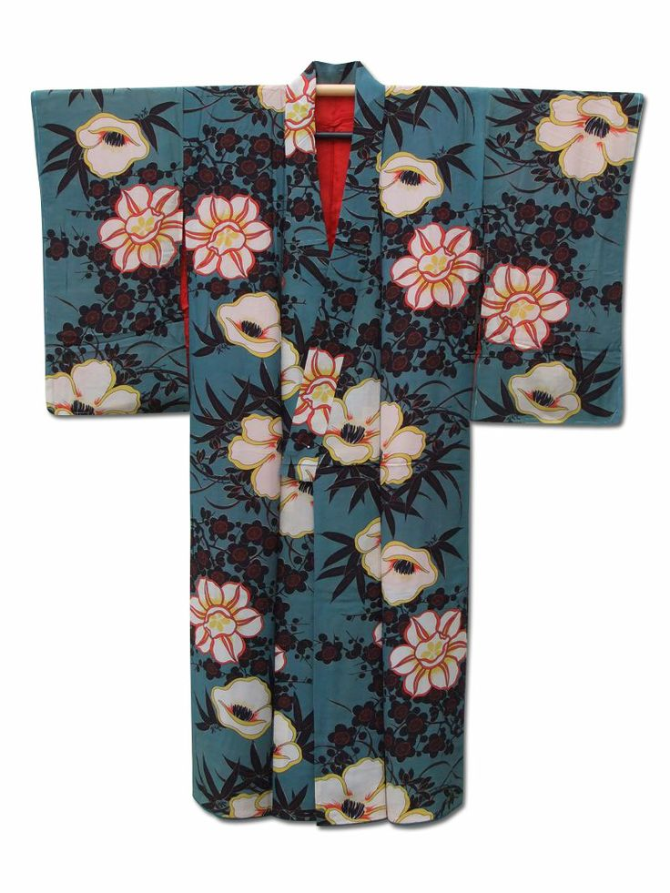 ☆ New Arrival☆ 'Palace Garden' #bluish #green #silk #antique #Japanese #kimono with exquisite #floral pattern from #FujiKimono http://www.fujikimono.co.uk/fabric-japanese/palace-garden.html
