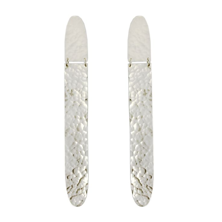 These long earrings dangle and sparkle with their hinged construction and hammered, high polish finish. Handmade in sterling silver, with sterling silver stud posts.