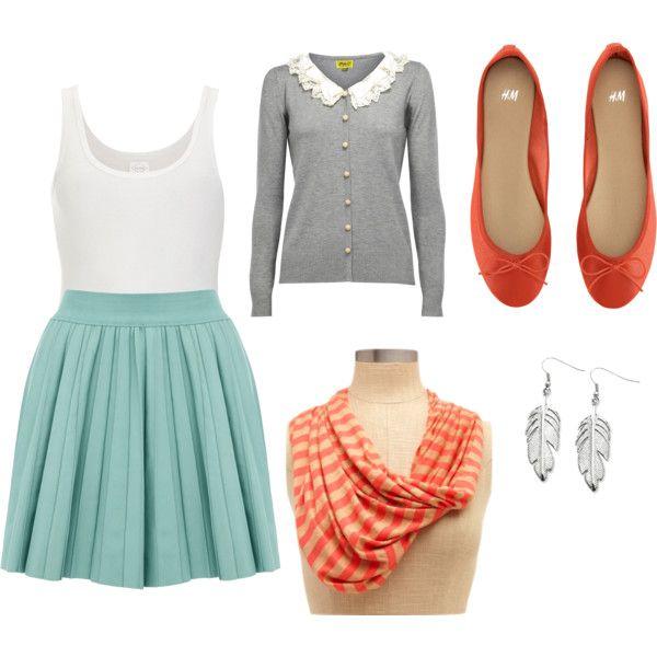 orange & teal spring outfit