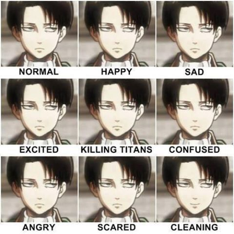 Attack on Titan  levi,I couldn't help but pin this!! I love how he is happy when he is cleaning << I agree