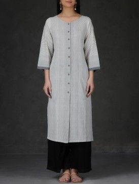 Grey Round Neck Button-Down Cotton Kurta