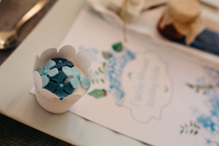 wedding menu, hydrangea blue, cup cake , table set up, wedding in greece