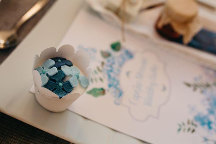 wedding menu, hydrangea blue, cup cake , table set up, wedding in greece