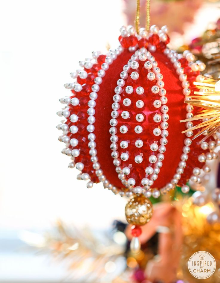 Addicted: Vintage Beaded Christmas Ornaments | Inspired by Charm  #IBCholiday   I loved making these with my mom and sisters!