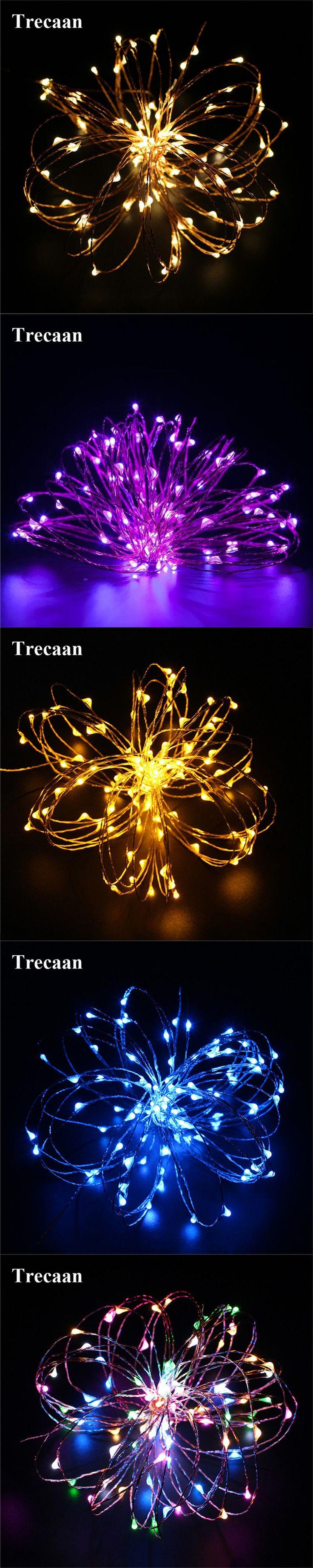 Trecaan Solar LED string light 10M 100Leds Copper Wire waterproof Fairy Light Xmas Wedding Party Garden outdoor Decoration