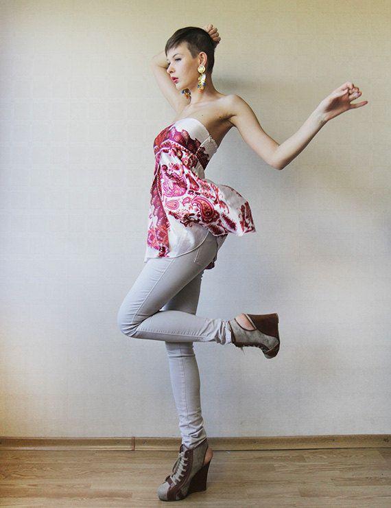 Bianca rosa sciarpa raso senza spalline babydoll di founditgreat