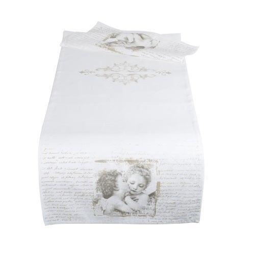 Mathilde M  Chemin de table modèle Anges Amoureux  Dimensions : 50 x 150 cm  Matière : 55% Lin , 45% Coton