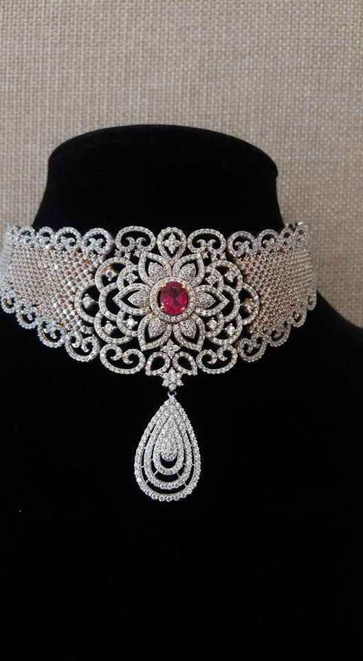 White Gold Diamond Necklace - Jewellery Designs