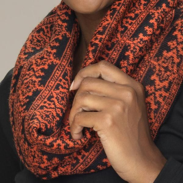 Rosa baby alpaca double faced jacquard pattern snood titian gold orange detail