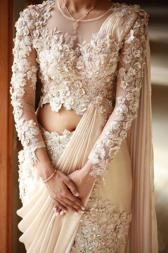 wedding saree floral pattern | indian wedding inspiration