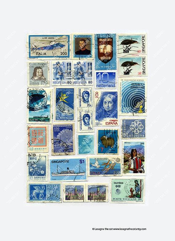 Vintage blue light blue postage stamps collage by LasagnaTheCat, €3.50
