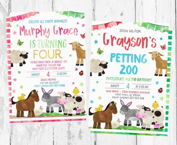 Petting Zoo Themed Birthday Party Invitations – Party Invitations