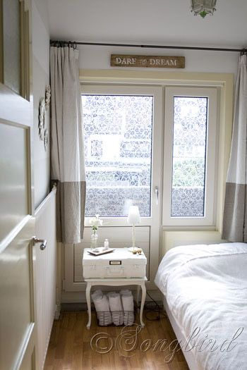 small room: Curtains, Guest Bedrooms, Crafts Rooms, Dreams, Bedrooms Doors, Guest Rooms, April Bedrooms, Houses Tours, Glasses Decals