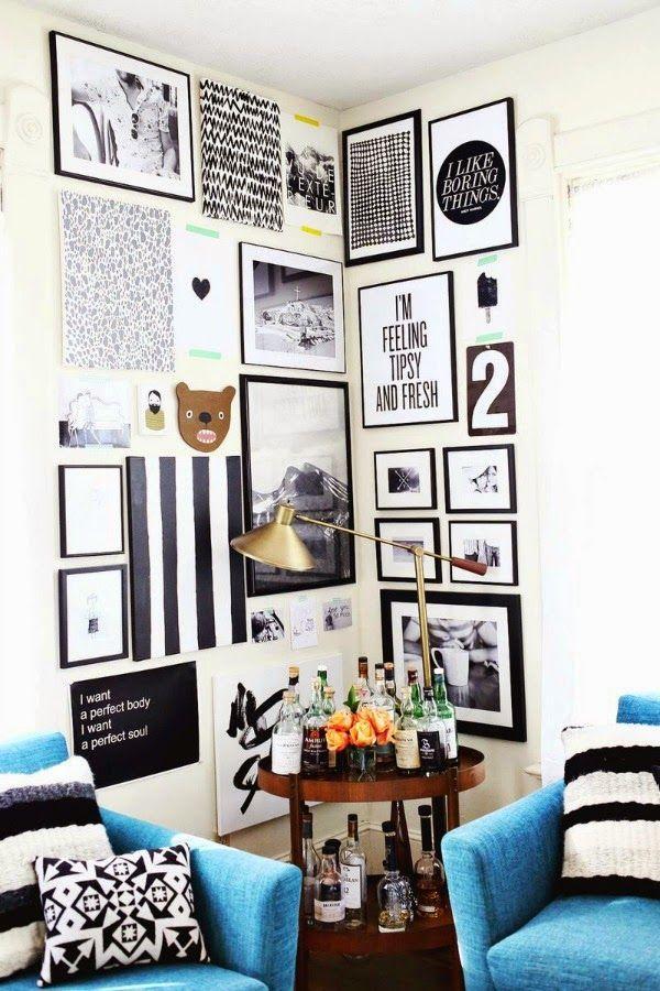 Uma maneira fácil de dispor os quadros na parede sem risco de errar.