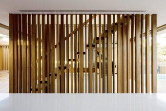 timber slat stair wall WORK Retail Pinterest Decks