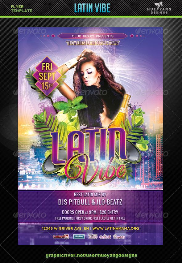 Latin Vibe Flyer Template | Flyer template, Template and Fonts