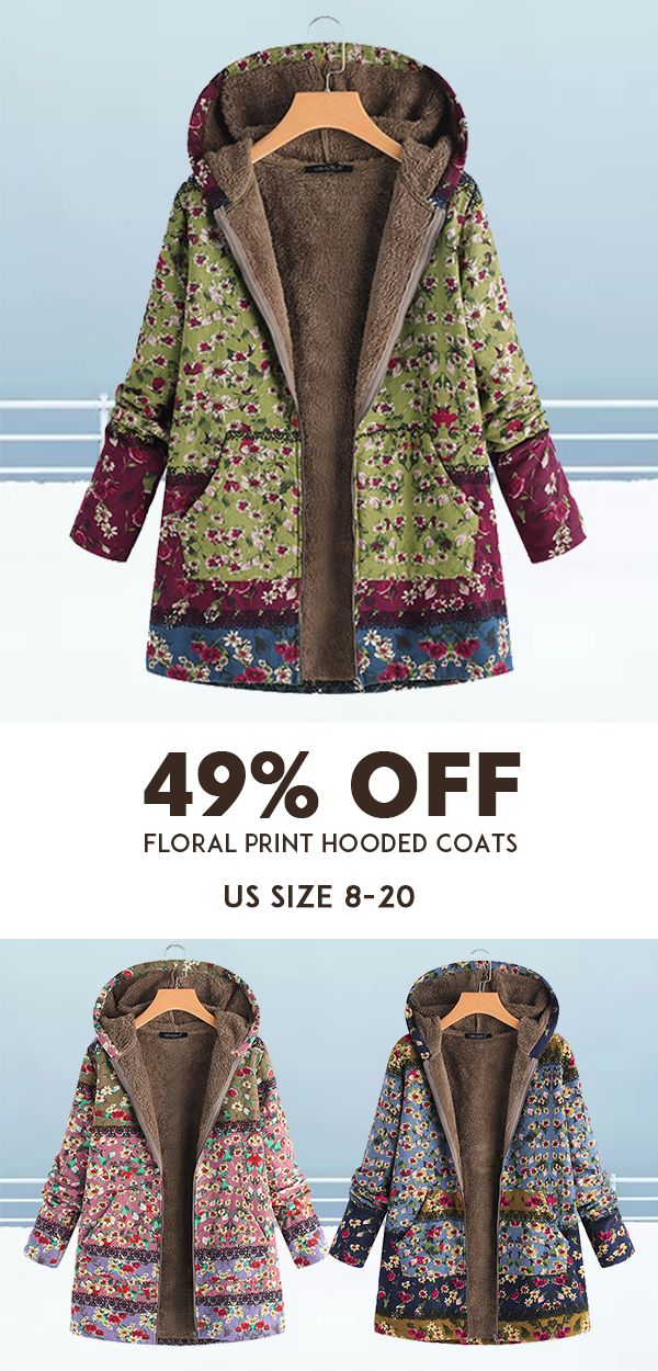 b8140f9314c Patchwork Random Floral Print Hooded Long Sleeve Vintage Coats ...